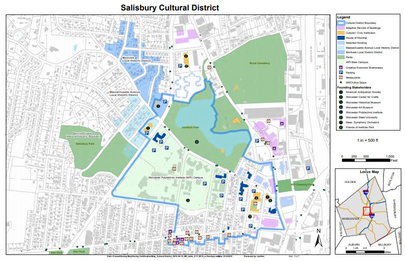 Map of Worcester's Salisbury Cultural District, featured on AHF's Worcester Aud blog.