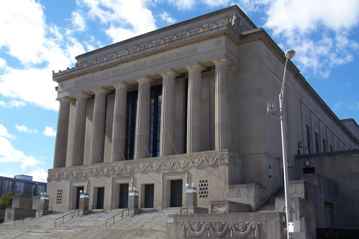 Photo of the Worcester Memorial Auditorium front facade, featured in a news post on the Architectural Heritage Foundation's investment in the building.