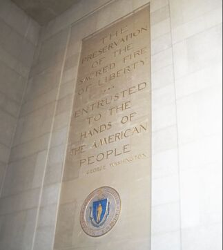 "George Washington quotation inscribed on the wall of the Worcester Memorial Auditorium: ""The preservation of the sacred fire of liberty…entrusted to the hands of the people."