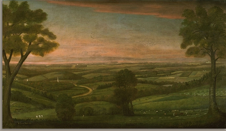 An early 19th-century painting of the central Massachusetts landscape, depicting farms, distant church steeples, and a sunset. This image appears in a blog post by the Architectural Heritage Foundation (AHF) on the Worcester Memorial Auditorium project website.