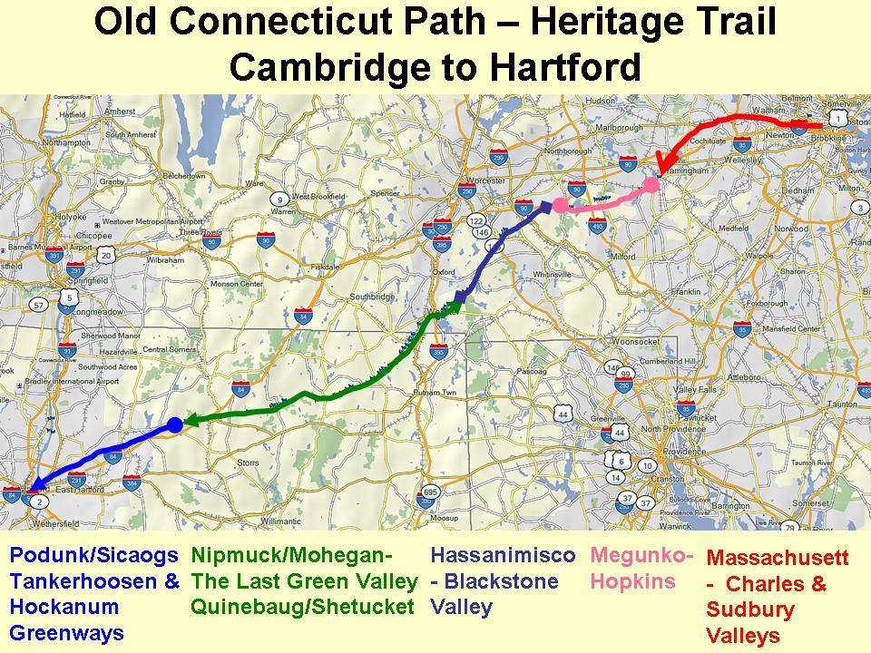 Map of the Old Connecticut Path, posted in AHF's blog about Massachusetts during the Woodland Period. Courtesy of Jason R. Newton.