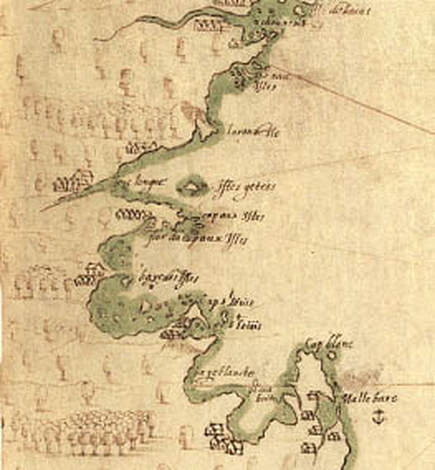 Samuel de Champlain's map showing what would become Boston Harbor, c. 1607. Credit: NPS. Featured on AHF's blogpost about Woodland Period Boston.