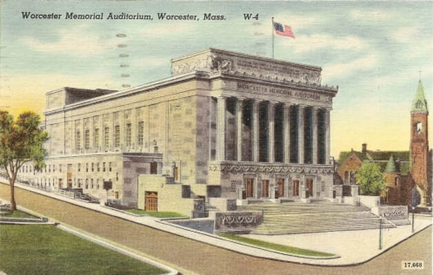 Historic picture of the Worcester Memorial Auditorium. Featured in an article about the Architectural Heritage Foundation's pending purchase agreement with the City of Worcester.
