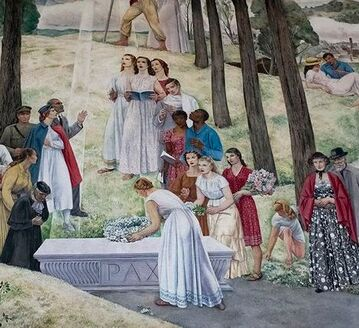 Detail from Leon Kroll's mural in the Shrine of the Immortal at the Worcester Memorial Auditorium, showing Black and white people praying at the grave of a fallen WWI soldier.