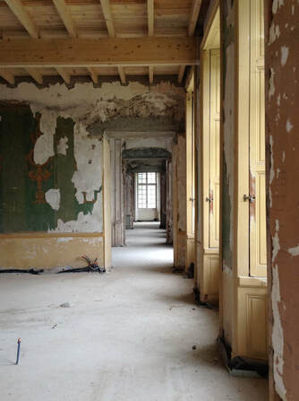 Château de Gudanes interior. Like AHF's Worcester Memorial Auditorium project, the Château suffers from peeling paint and crumbling plaster.
